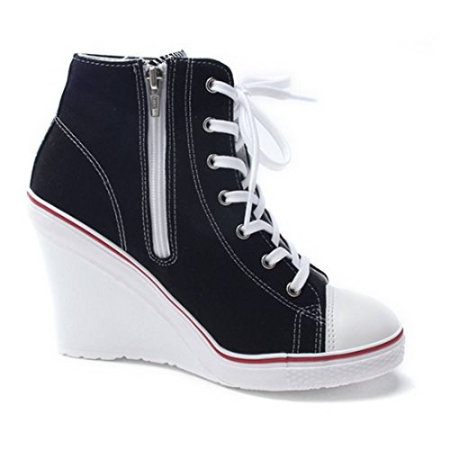 2330efab0e2 lovely EpicStep Women s Canvas High Top Wedges High Heels Casual Fashion  Sneakers