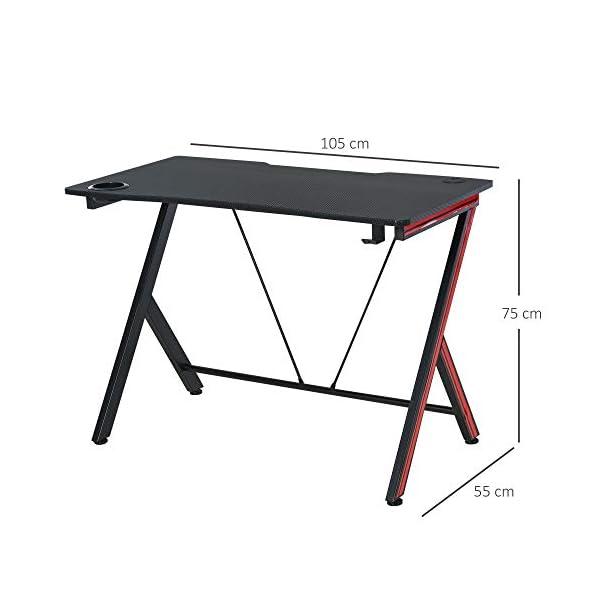 Bureau Gaming Table Bureau pour Ordinateur de Jeu avec Crochet et Porte-Gobelet Patins Réglables 105 x 55 x 75 cm Noir…