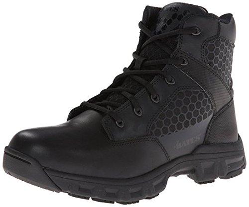 Bates Mens Code 6 Black 6 Inch Leather Nylon Zip Uniform Boot  Black  7 5 M Us