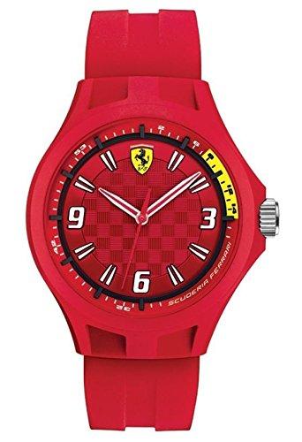 Ferrari Men's Quartz Plastic and Silicone Casual Watch, Color:Red (Model: 0830283)