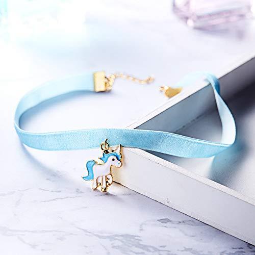 ae82b8a60817 Scrox 1pcs Colgantes Mujer Plata Moda Choker Collares Unicornio Niña Joyas  para Mujer Ribbon Collar Corto Originales Longitud  31+5cm Colgante 2.5    2.3cm ...