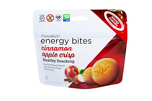 MetaBall Energy Bites – Cinnamon Apple Crisp, Bite-Sized Protein Snack, Allergy Friendly, Vegan, Kosher, Gluten-Free (10-Pack, 1.76 oz)