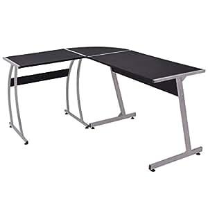 Daonanba Corner Desk Computer Desk Workstation Practical Study Table Durable Sturdy Style A L-Shaped Black