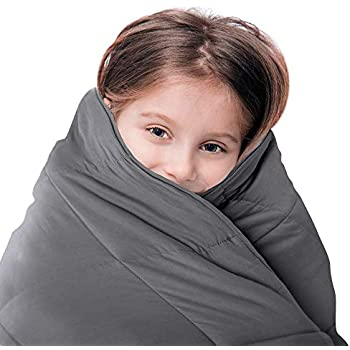 LUNA Kids Weighted Blanket | 7 lbs - 41x60 - Twin Size Bed | 100% Oeko-Tex Certified Cooling Cotton & Premium Glass Beads | Designed in USA | Heavy Cool Weight for Hot & Cold Sleepers | Dark Grey