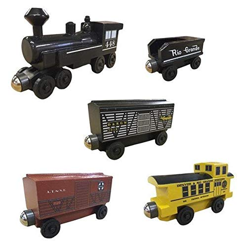 448 Steam Engine Cattle Train 5pc. Set - Wooden Toy Train by Whittle Shortline Railroad