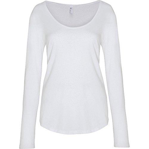 shirt White ladies Ultra Long wash Womens American Cotton Sleeve Apparel T FAxwHvqz