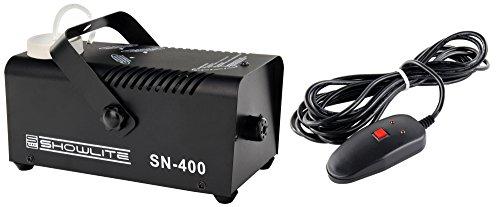 Showlite SN-400 Nebelmaschine 400W mit Fernbedienung (Nur 3 Minuten Aufwärmzeit, 40m³/min Nebelausstoß, 3,5m Sprühdistanz) schwarz