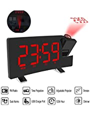 Honelife Clock Multifuctional Projection FM Radio Alarm Clock With USB Charging Port