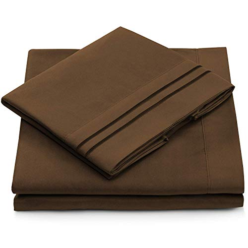 Queen Size Bed Sheets - Chocolate Luxury Sheet Set - Deep Pocket - Super Soft Hotel Bedding - Cool & Wrinkle Free - 1 Fitted, 1 Flat, 2 Pillow Cases - Dark Brown Queen Sheets - 4 Piece