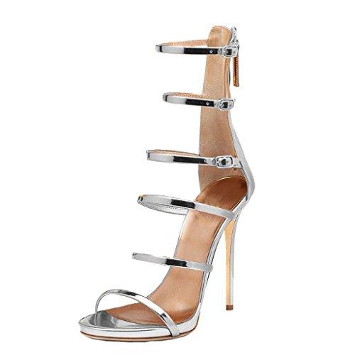 Calaier Mujer Capiano Tacón De Aguja 11.5CM Sintético Cremallera Sandalias de vestir Zapatos Plateado