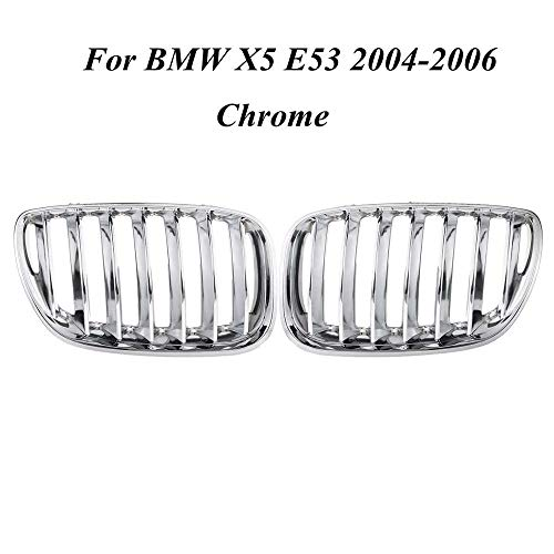 Pair Matte Black Chrome Front Hood Kidney Sport Grills Grille for BMW X5 E53 2004-2006 Front Bumper Grille Car Styling