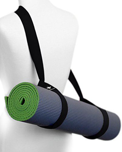 Yoga Mat Sling Carry Strap - Adjustable, Durable, Cotton (Black)