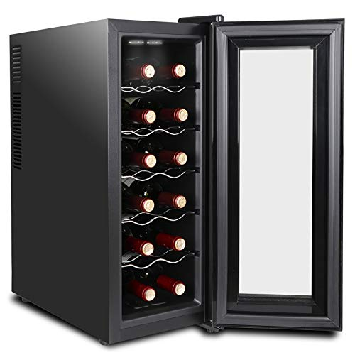 SUPER DEAL 12 Bottle Thermoelectric Wine Cooler Chiller with Digital Control, Freestanding Refrigerator with Glass Door, Quiet Operation (Improved Version 12 Bottles)