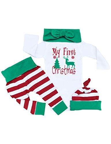 - Christmas Outfit Baby Girls Boys First Christmas Romper Bodysuit Onesie Stripe Pants(3-6M/80)
