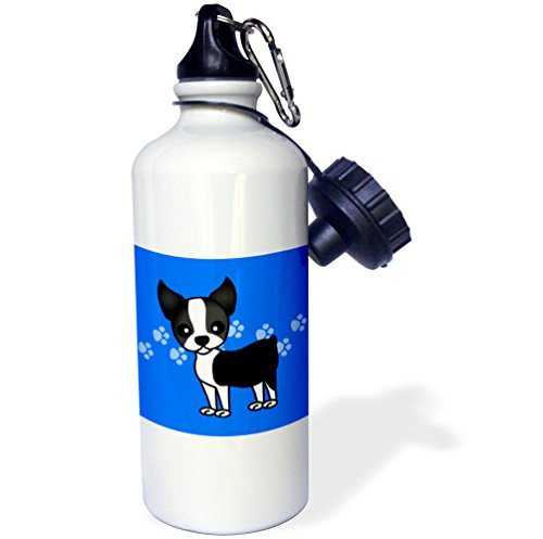 Boston 21 Bottle - 3dRose wb_12085_1 Cute Boston Terrier Blue Paw print Background - Sports Water Bottle, 21 oz, White