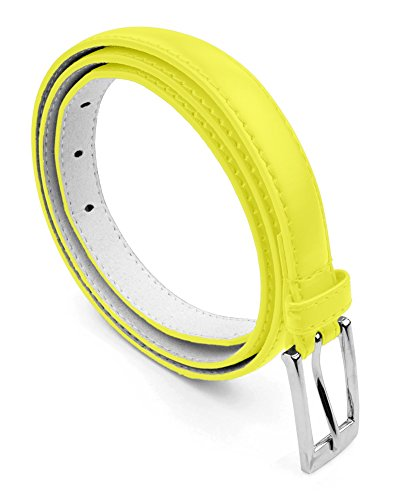 Skinny Hip Belt - Belle Donne - Women's Leather Skinny Hip or Waist Dress Belt -Yellow-S