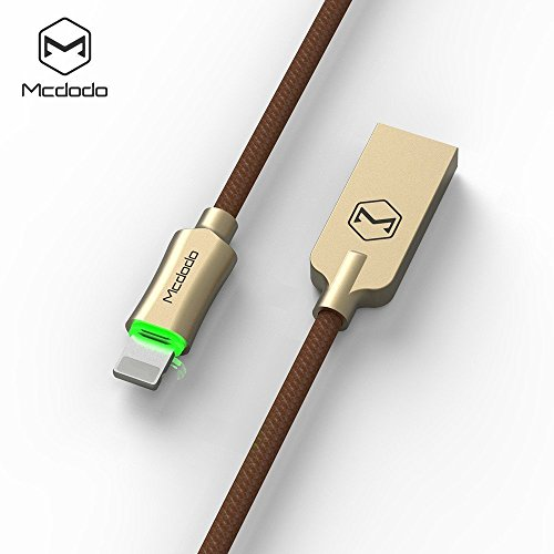 Smart LED 6FT/1.8M Auto Disconnect iPhone Nylon Braided Sync Charge USB Data Cable Compatible iPhone 7/7 Plus, 6/6 Plus, 6s/6s Plus, 5s/5c/5, iPad Pro/Air 2, iPad Mini 4/3/2, iPod (6FT Gold)