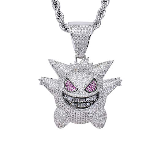 - LC8 Jewelry Men Hip Hop Iced Out Bling CZ Diamond Vampire Mask & Bull & Gengar Pendant Silver Plated with 24 Inch Rope Chain (Silver Gengar)