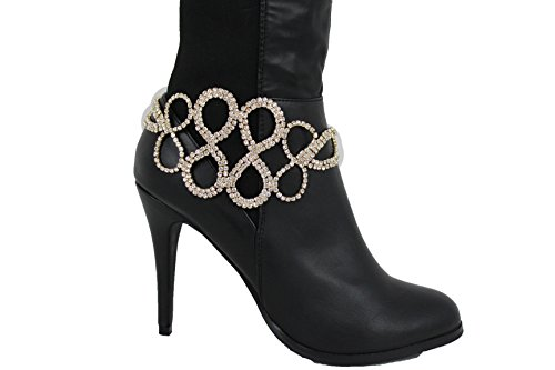 Boot Gold Charm Pendant (TFJ Women Fancy Western Boot Chain Gold Metal Bling Bracelet Anklet Infinity Silver Charm Bridal)