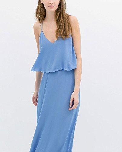 Zara azul vestidos largos Maxi con placa de bajo trasera de: mediana para el cuello