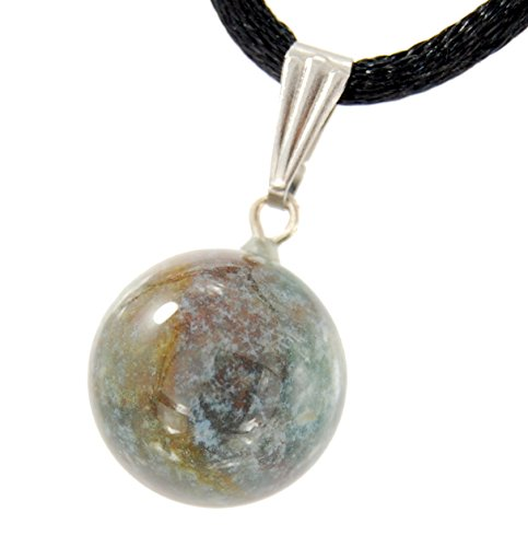 - Celestial Collection - 14mm Moon Sphere Ball Indian Tree Agate Green Brown Purple, 20