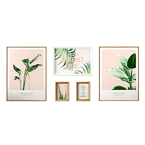 Nordic photo wall / combination photo frame wall / hanging simple modern living room restaurant photo wall 5 box 185 76cm ( Color : C ) by Photo Wall