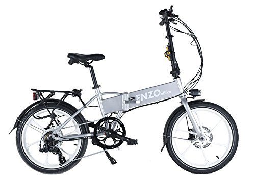 Enzo ebikes Electric Folding Aluminum Bicycle with Lithium-Ion Battery, Silver, 20″/One Size Top Price