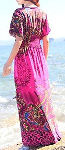 Soojun Floral Manches Courtes Col En V Femmes Robe Élastique Été Maxi Hawaiien Rose Rouge