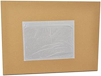 100 Pack 7.5 x 5.5 Clear Adhesive Top Loading Packing List Shipping Label Envelopes