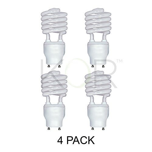 (Pack of 4) 23 Watt Mini Spiral - GU24 Base - (100W Equivalent) - T2 Mini-Twist - CFL Light Bulb - 4100K Cool (Base 4100k Cool)