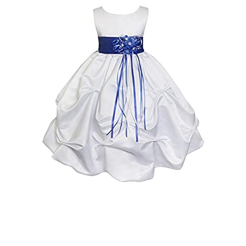 AMJ Dresses Inc Baby Girls White/royal Blue Flower Party Dress C1403 Sz L