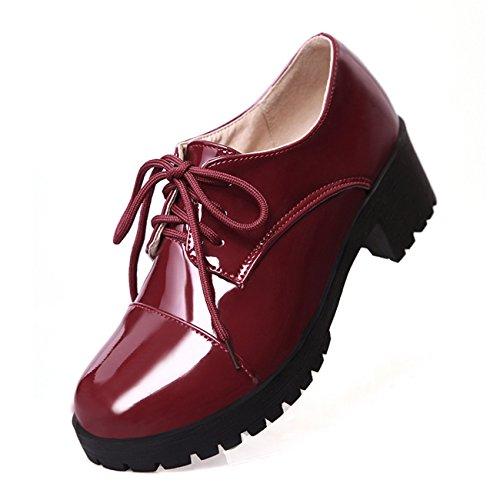 Frauen Starke Ferse Runde Zehe Lace-up Schwarz Lackleder Pumps Schuhe (33.5, weinrot)
