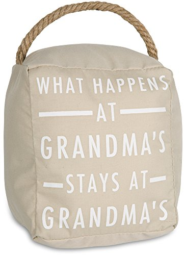 Pavilion Gift Company Open Door Decor - What Happens at Grandma's stays at Grandma's Cream Door Stopper with Handle