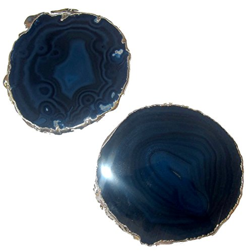 SatinCrystals Agate Blue Polished Stone Premium Pair of Third Eye Chakra Plate Electroplated Slab Slice Coaster Set P02 (3.5-4 Inches, ()