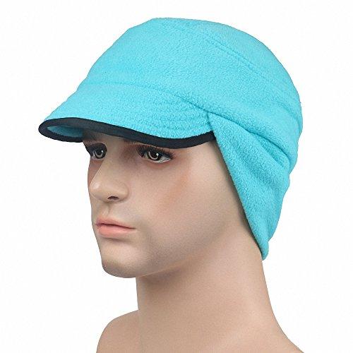 (Maoko Fleece Earflap Hat- Winter Warm Beanie with Visor SkyBlue)