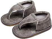HONGTEYA Rubber Sole Baby Sandals-Girls Boys Infant Summer Flip Flops Floral Pu Leather Moccasins