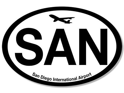 GHaynes Distributing Oval SAN San Diego Airport Code Sticker Decal (jet fly air hub pilot ca) 3 x 5 inch