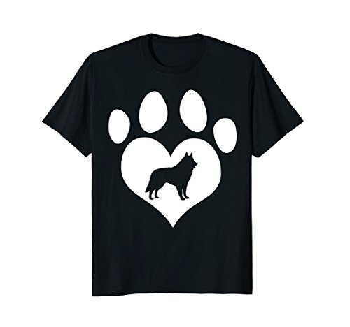 Belgian Sheepdog TShirt, Puppy Paw Heart Dog Love Shirt Gift