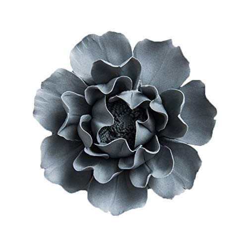 ALYCASO Peony 3D Ceramic Flower for Home, The Kitchen, Living Room, Bedroom Wall Sculptures Decoration Art Hanging Flower, Caesious, 4.7 in