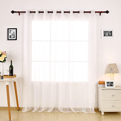 Deconovo Jacquard Stripe Sheer Voile Panel Linen Look Grommet Top Window Wide Sheer Curtain Panel for Bedroom 84 Inch Long White Sheer Curtain 1 Panel (Jacquard Sheer)