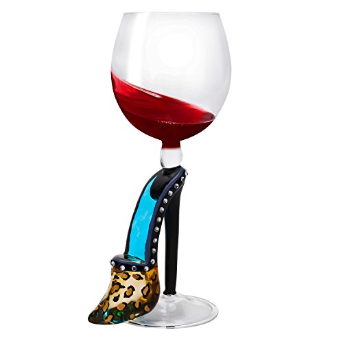 Lovinpro Hand Painted Wine Glass,Uinique Handblown Glassware for,Men, Women,Wedding,Anniversary,Festival(Blue Heel)