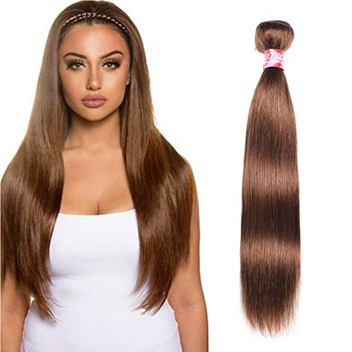 XCCOCO Hair One Bundle Colored 4# Light Brown Straight Hair Bundles 8A Grade Peruvian Virgin Remy Straight Human Hair Weft Silk Soft ()