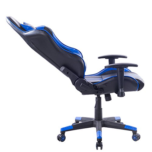 Killbee Large Size PVC Ergonomic Reclining Racing Chair Executive Office Chair with Headrest and Lumbar Support (Blue) by Killbee (Image #8)