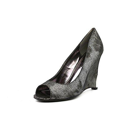 Fergie Nikita Womens Size 9 Silver Peep Toe Wedges Heels Shoes