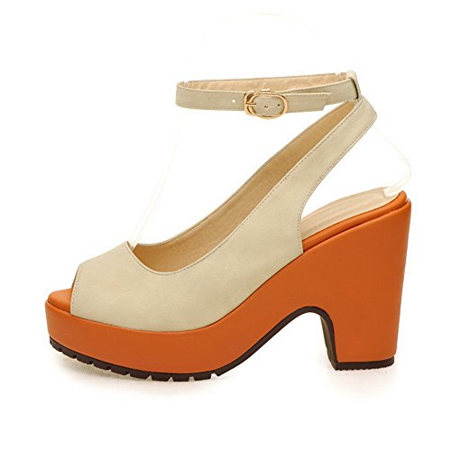 VogueZone009 Womens Open Peep Toe High Heel Platform PU Solid Sandals, Beige, 3 UK