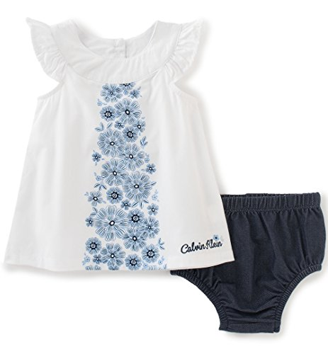 Calvin Klein Baby Girls' 2 Pieces Top with Panty, White, 18M