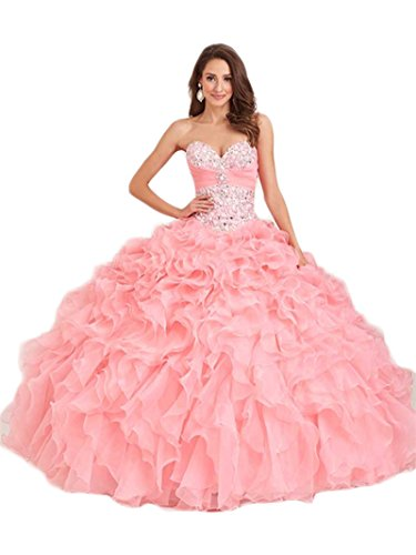 Dresses Beaded Chupeng Pink Quinceanera Gown Women's Silvery Ball Sweetheart 7xBtq0x