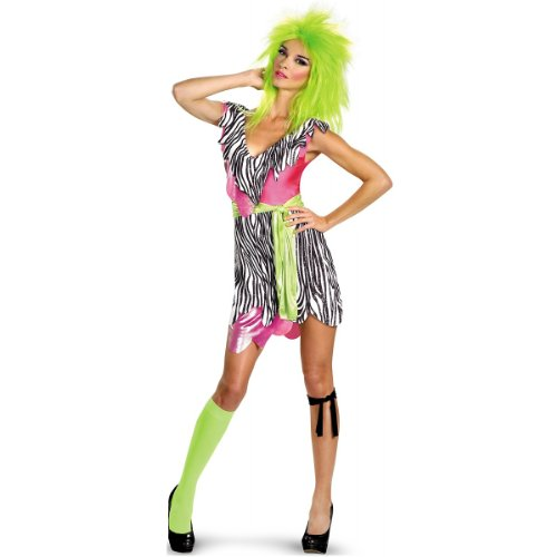 [Disguise Jem and The Holograms Pizzaz Deluxe Womens Costume, Black/White, Large/12-14] (Jem And The Holograms Fancy Dress Costume)