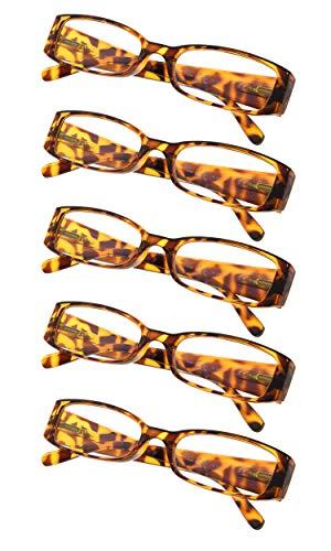 5-Pack Ladies Reading Glasses (Tortoise,+1.50)