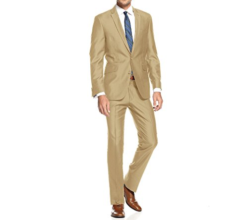 - Braveman Mens Slim Fit Single Breasted 2 Piece Suit, Tan, Size 54R/48W